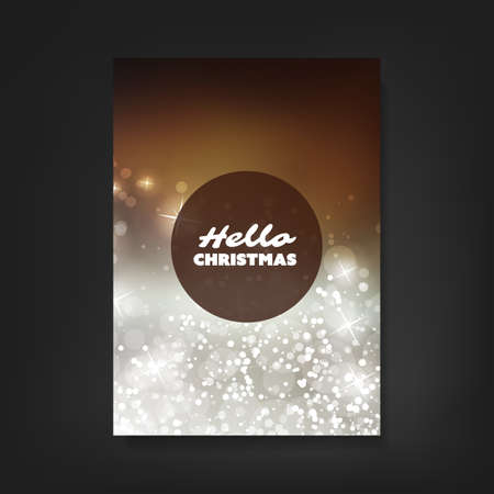 holiday card: Hello Christmas - Flyer, Card or Cover Design with Sparkling Pattern Background - Corporate Identity, Christmas, New Year or Ad Design Template Illustration