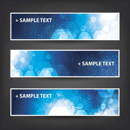 Set of Horizontal Banner Background Designs - Colors: Blue, White - Christmas, New Year or Other Holiday Ad Templates Illustration