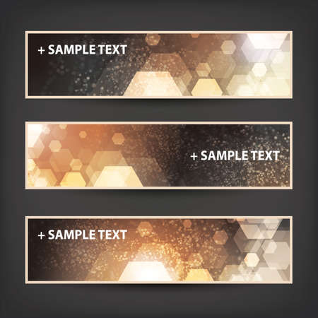 ad: Set of Horizontal Banner Background Designs - Colors: Brown, Orange, White - Christmas, New Year or Other Holiday Ad Templates
