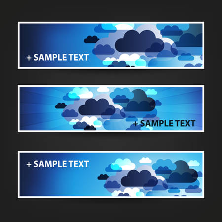 background banner: Set of Horizontal Banner Background Designs, Ad Templates - Colors: Blue, White - Clouds In The Sky Illustration