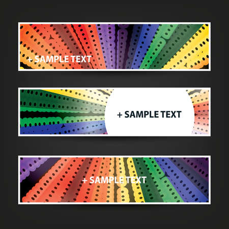 retro party: Set of Horizontal Header Background Designs, Ad Banner Templates - Dotted Pattern