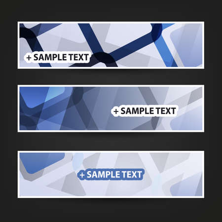 ad: Set of Horizontal Banner Background Designs, Ad Templates - Colors: Blue, White Illustration