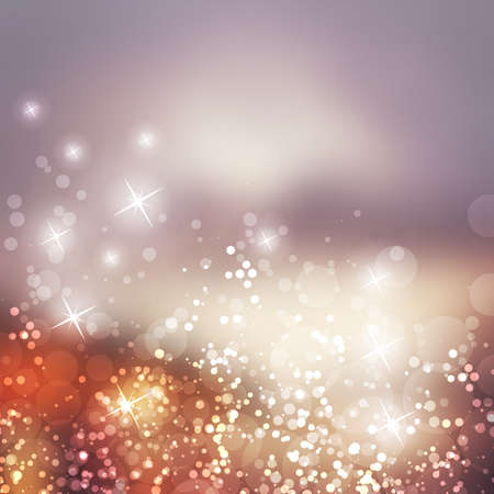 Sparkling Cover Design Template with Abstract, Blurred Background - Cover to Christmas, New Year or Other Designs - Colors: Grey, Purple, Brown 矢量图像