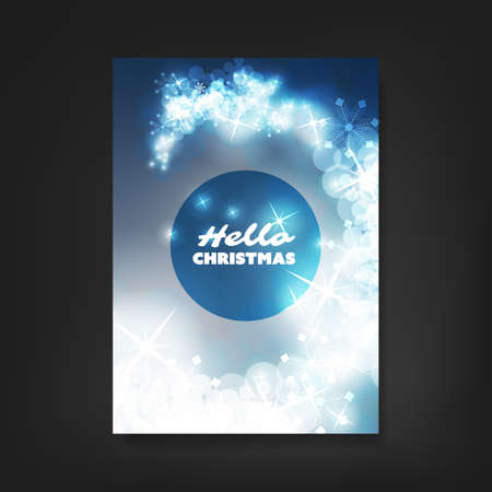 ad: Hello Christmas - Flyer, Card or Cover Design with Sparkling Pattern Background - Corporate Identity, Christmas, New Year or Ad Creative Design Template Illustration
