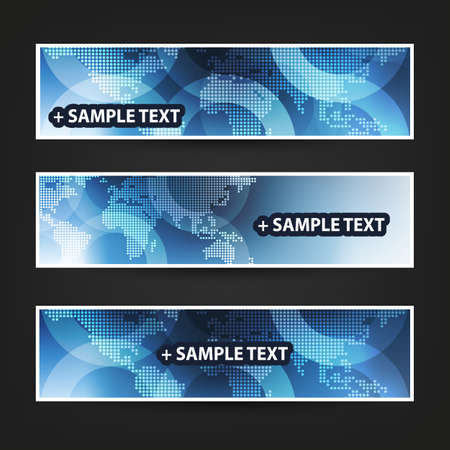 digital world: Set of Horizontal Banner Background Designs, Ad Templates - Light Blue and White Spotted World Map