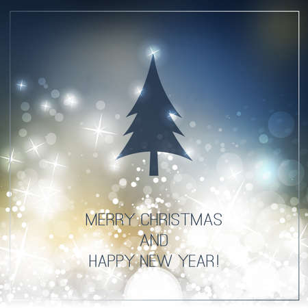 happy holidays: Happy Holidays, New Year and Christmas Card With Christmas Tree on a Sparkling Blurred Background Illustration