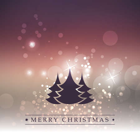 tree silhouettes: Happy Holidays, New Year and Christmas Card With Christmas Tree on a Sparkling Blurred Background Illustration