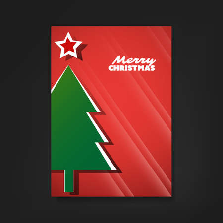 Christmas Flyer or Cover Design With Red Background