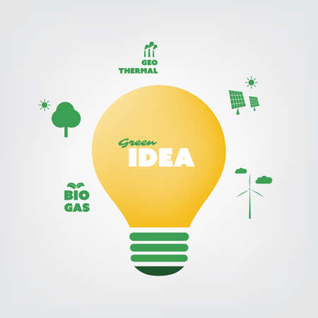 positive energy: Think Green - Eco Friendly Ideas In The Light Bulb Symbol - Background Concept Design