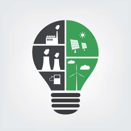Denk Groen - Verontreiniging vs. Eco Friendly Ideeën in een gloeilamp - symbool, achtergrond Concept Design