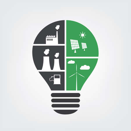 thermal energy: Think Green - Pollution vs. Eco Friendly Ideas In a Light Bulb - Symbol, Background Concept Design