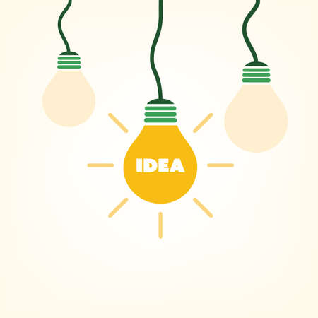 lamp vector: Idea - Light Bulb Design Template With Label - Vector Illustration For Your Business