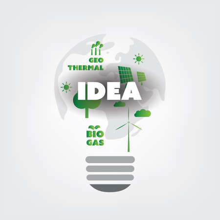 water recycling: Think Green - Eco Friendly Ideas In a Light Bulb Symbol - Concept Design
