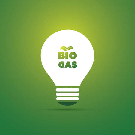 biology: Bio Gas Energy Concept Design - Bulb Icon Illustration