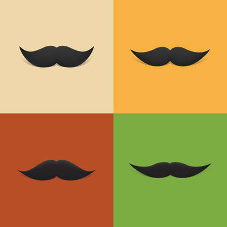 burly: Vintage Mustache Designs With Shadows Illustration