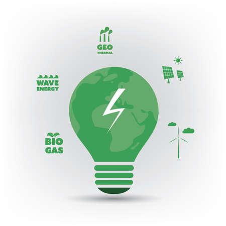 energías renovables: Piense el verde - verde Electricidad, Eco Ideas friendly alrededor de una bombilla - concepto de diseño de fondo Vectores
