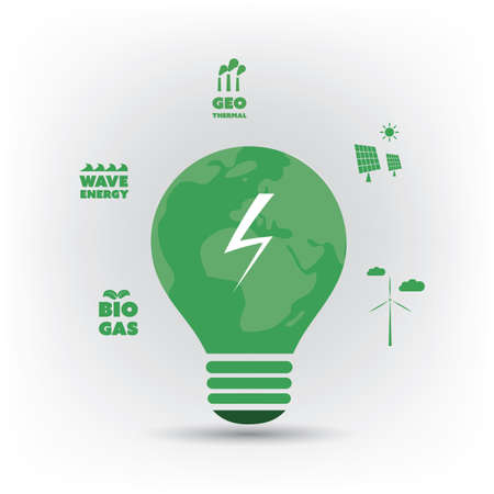friendly: Think Green - Green Electricity, Eco Friendly Ideas Around a Light Bulb - Background Concept Design Illustration