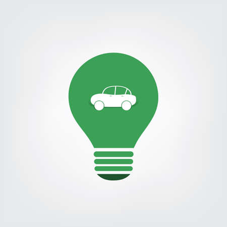 go inside: Green Eco Energy Concept Icon - Electric Car Illustration