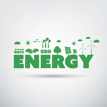 eco energy: Energy Label with Green Eco Icons