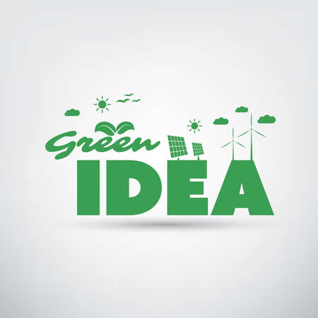 sun energy: Green Idea Label with Eco Icons