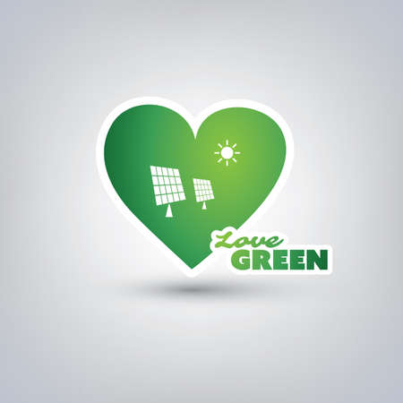 sun energy: Love Green - Design Concept With Green Heart and Label