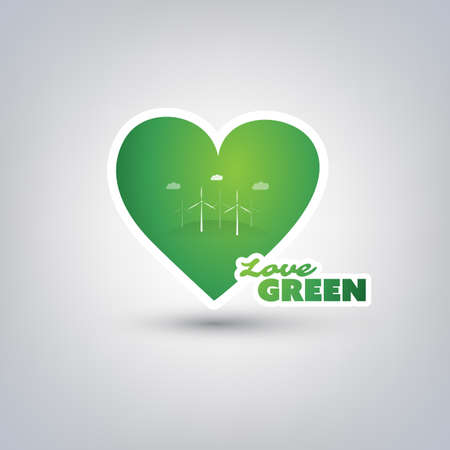 green heart: Love Green - Design Concept With Green Heart and Label
