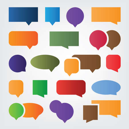 Collection of Colorful Speech And Thought Bubble Designs Clip-Art Illustration