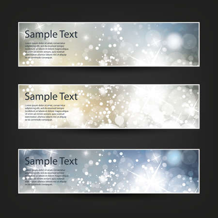 header: Set of Horizontal Banner or Header Designs for Christmas, New Year or Other Holidays with Colorful Sparkling Pattern Background - Colors: Blue, Golden, White