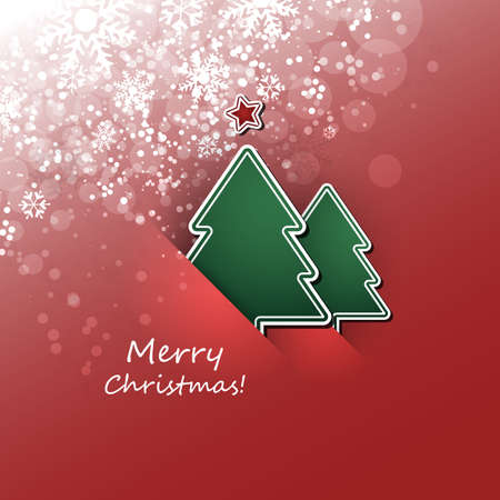 fiambres: Christmas Flyer or Cover Design With Christmas Tree And Red Background Vectores