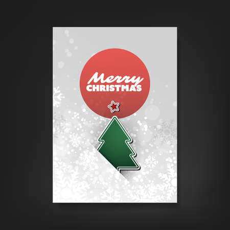 fiambres: Christmas Flyer or Cover Design With Christmas Tree And White Sparkling Background