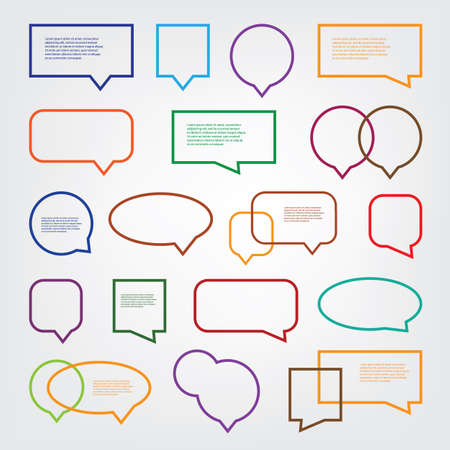 Collection of Blank Empty Colorful Speech And Thought Bubble Vector Designs With Sample Text Vectores