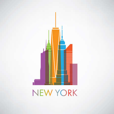 city skyline: New York City Skyline Design Concept With Silhouette of Famous Skyscrapers