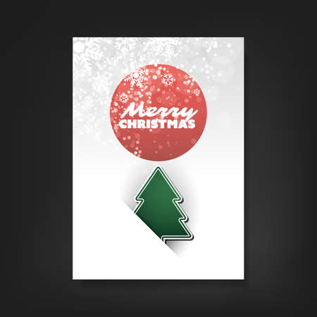 white christmas tree: Christmas Flyer or Cover Design With Christmas Tree And White Sparkling Background