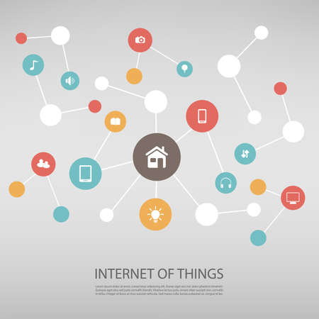 symbols of internet: Internet Of Things Design Concept With Icons
