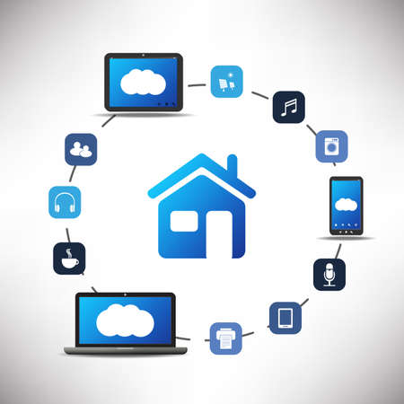 round icons: Internet Of Things, Digital Home And Networks Design Concept With Icons