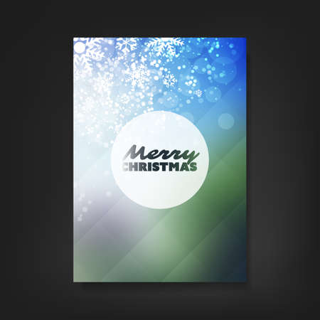 gift card: Christmas Flyer or Cover Design With Christmas Tree And White Sparkling Background