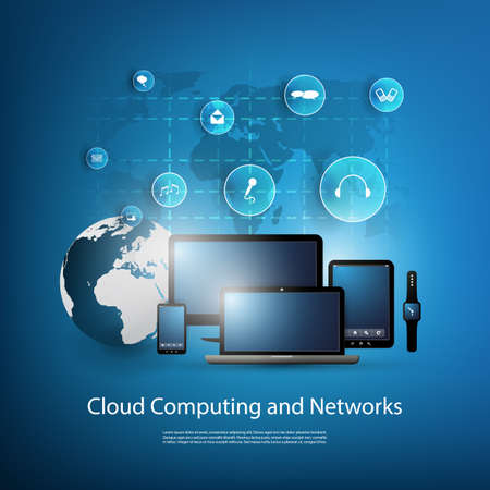 earth globe: Cloud Computing And Networks Design Concept