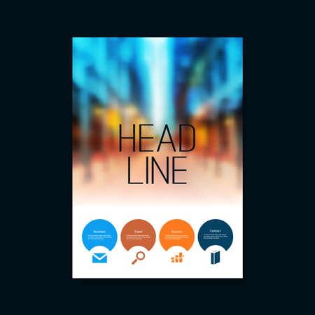 Flyer ou Cover Design créatif en format de vecteur éditable - Passerelle Defocused City Street