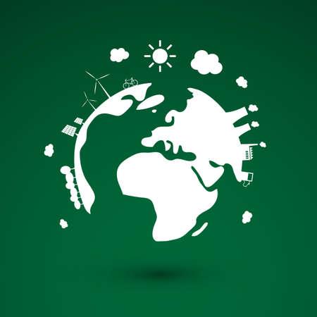 social icon: Think Green, Green Electricity, Eco Friendly Ideas - Earth Globe Concept Design Illustration