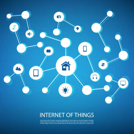 blue network: White And Blue Network Design Concept With Icons - Internet Of Things