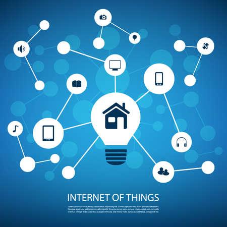 Bianco e blu di rete Design Concept con icone - Internet delle cose Vettoriali