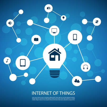 White And Blue Network Design Concept With Icons - Internet Of Things