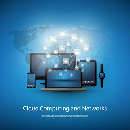 message cloud: Cloud Computing Concept With Different Devices Illustration