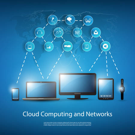 blue light: Cloud Computing Concept With Different Devices Illustration