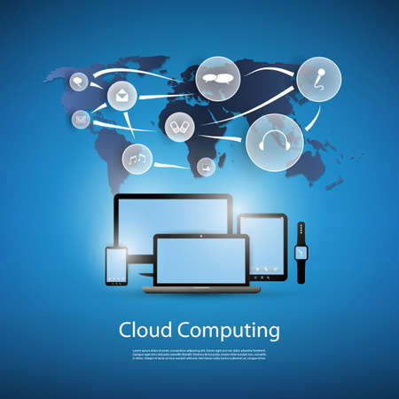 Cloud Computing Concept With Different Devices 일러스트