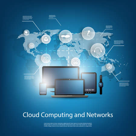 phone system: Cloud Computing Concept With Different Devices Illustration