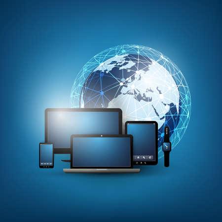 Cloud Computing Design-Vorlage mit verschiedenen Geräten Standard-Bild - 50666665