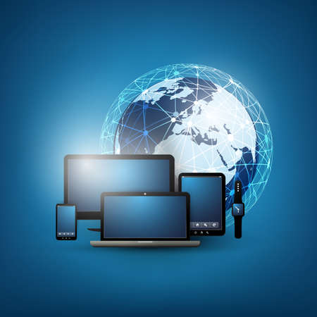Cloud Computing Design Template With Different Devices