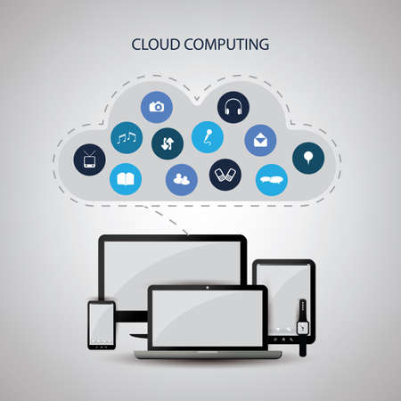 digital media: Cloud Computing Concept Design with Icons in the Cloud Representing Various Kinds of Digital Media and Storage Services