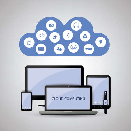 media equipment: Cloud Computing Concept With Different Devices Illustration